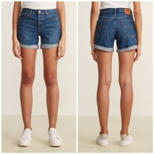 Levi's 501 Long Shorts in Blue Clue Cuffed